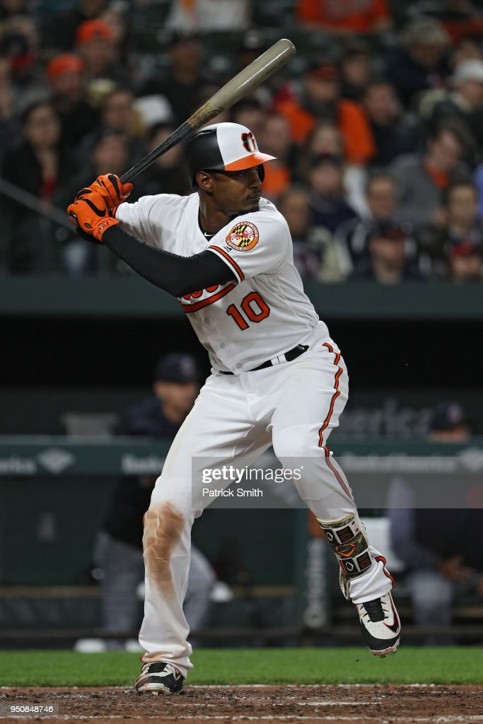Adam Jones #10 of the Baltimore Orioles bats against the Cleveland Indians at Oriole Park at Camden Yards on April 23, 2018 in Baltimore, Maryland.