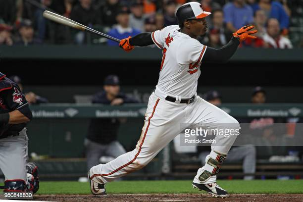Adam Jones of the Baltimore Orioles bats against the Cleveland Indians at Oriole Park at Camden Yards on April 23 2018 in Baltimore Maryland
