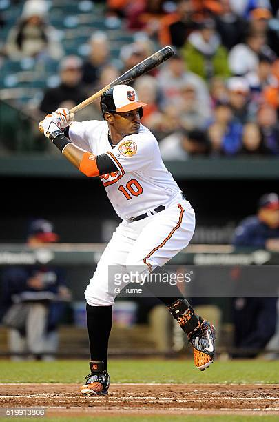 Adam Jones of the Baltimore Orioles bats against the Minnesota Twins at Oriole Park at Camden Yards on April 6 2016 in Baltimore Maryland
