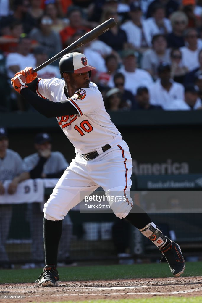Adam Jones #10 of the Baltimore Orioles bats against the New York Yankees at Oriole Park at Camden Yards on September 4, 2017 in Baltimore, Maryland.
