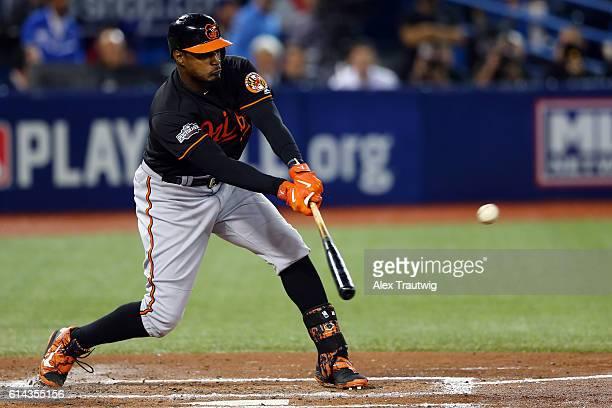 Adam Jones of the Baltimore Orioles bats during the American League Wild Card Game against the Toronto Blue Jays at the Rogers Centre on Tuesday...