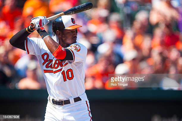 Adam Jones of the Baltimore Orioles bats during the game against the Tampa Bay Rays at Oriole Park at Camden Yards on September 13 2012 in Baltimore...