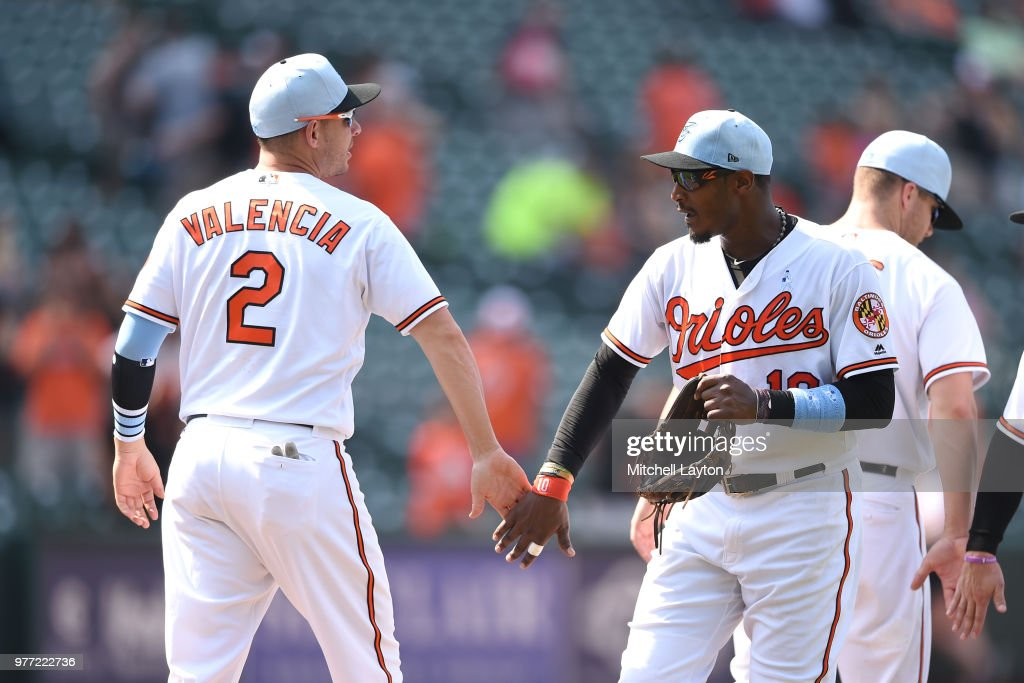 Adam Jones #10 of the Baltimore Orioles celebrities a win with Danny Valencia #2 after a baseball game against the Miami Marlins at Oriole Park at Camden Yards on June 17, 2018 in Baltimore, Maryland.