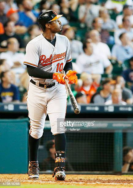 Adam Jones of the Baltimore Orioles connects on a solo home run in the eighth inning during their game against the Houston Astros at Minute Maid Park...