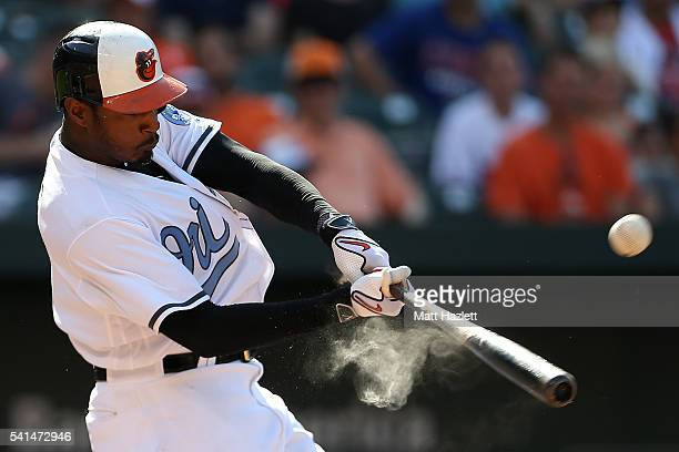 Adam Jones of the Baltimore Orioles hits a pop out for the first out of the eighth inning against the Toronto Blue Jays at Oriole Park at Camden...