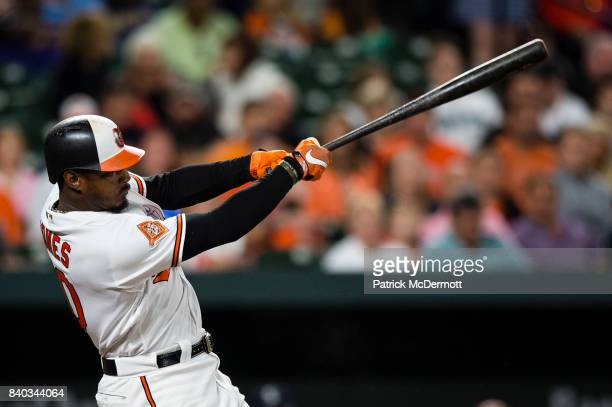 Adam Jones of the Baltimore Orioles hits a solo home run in the fifth inning against the Seattle Mariners at Oriole Park at Camden Yards on August 28...