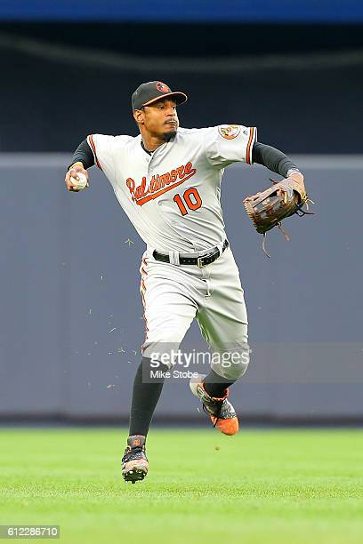 Adam Jones of the Baltimore Orioles in action against the New York Yankees at Yankee Stadium on October 2 2016 in the Bronx borough of New York City...