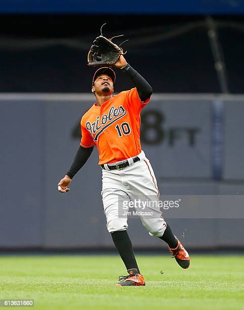 Adam Jones of the Baltimore Orioles in action against the New York Yankees at Yankee Stadium on October 1 2016 in the Bronx borough of New York City...