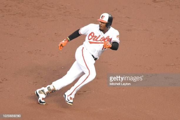 Adam Jones of the Baltimore Orioles leads off first base during a baseball game the New York Mets at Oriole Park at Camden Yards on August 15 2018 in...