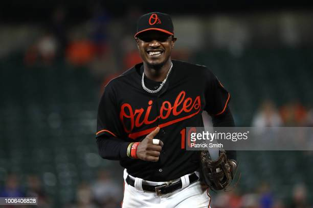 Adam Jones of the Baltimore Orioles looks on against the Tampa Bay Rays during the third inning at Oriole Park at Camden Yards on July 27 2018 in...