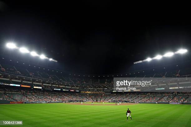 Adam Jones of the Baltimore Orioles looks on against the Tampa Bay Rays at Oriole Park at Camden Yards on July 27 2018 in Baltimore Maryland