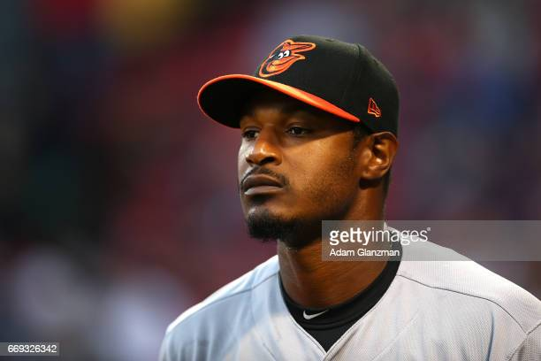 Adam Jones of the Baltimore Orioles looks on before a game against the Boston Red Sox at Fenway Park on April 12 2017 in Boston Massachusetts