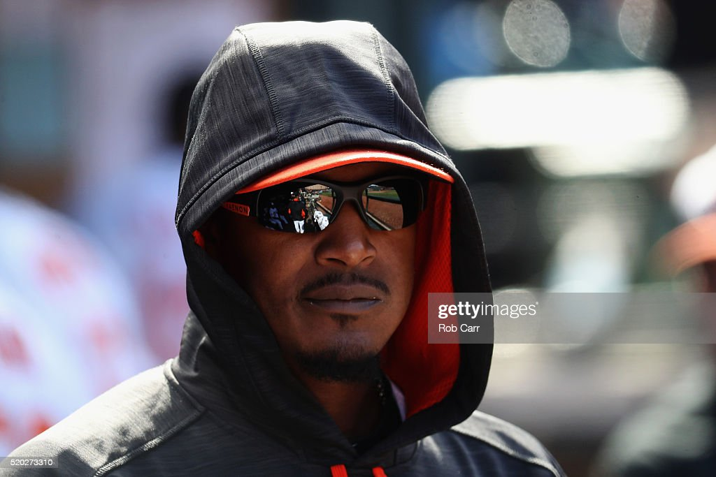 Adam Jones #10 of the Baltimore Orioles looks on from the dugout during the Orioles 5-3 win over the Tampa Bay Rays at Oriole Park at Camden Yards on April 10, 2016 in Baltimore, Maryland.