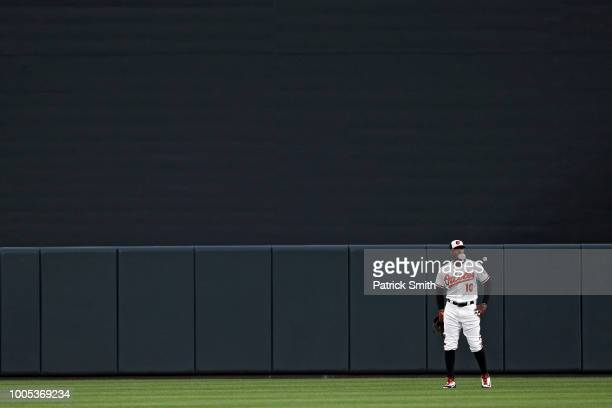 Adam Jones of the Baltimore Orioles looks on from the outfield before playing against the Boston Red Sox at Oriole Park at Camden Yards on July 25...