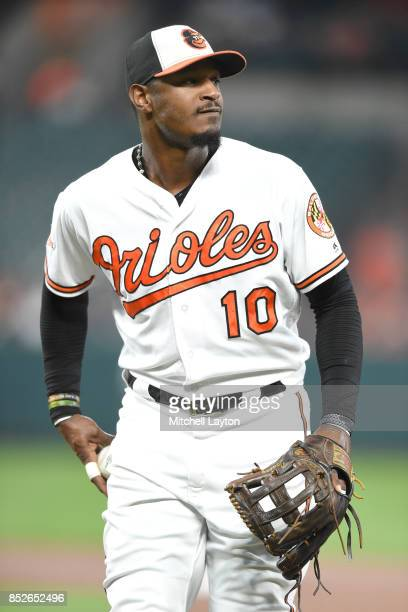 Adam Jones of the Baltimore Orioles looks to throw the ball to a fan during a baseball game against the Boston Red Sox at Oriole Park at Camden Yards...
