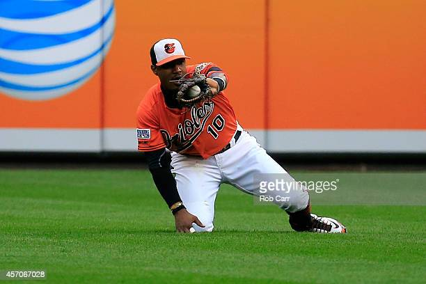 Adam Jones of the Baltimore Orioles makes a catch on Norichika Aoki of the Kansas City Royals line out to center field in the third inning against...