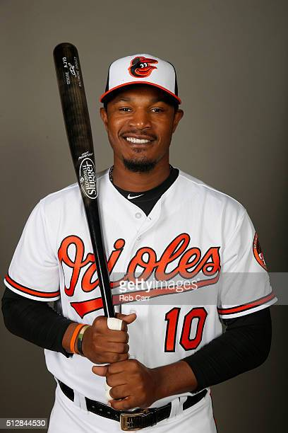 Adam Jones of the Baltimore Orioles poses during photo day at Ed Smith Stadium on February 28 2016 in Sarasota Florida