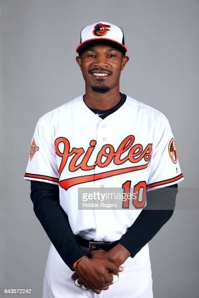 Adam Jones of the Baltimore Orioles poses during Photo Day on Monday February 20 2017 at Ed Smith Stadium in Sarasota Florida