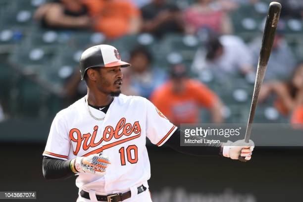 Adam Jones of the Baltimore Orioles prepares for a pitch during a baseball game against the Chicago White Sox at Oriole Park at Camden Yards on...