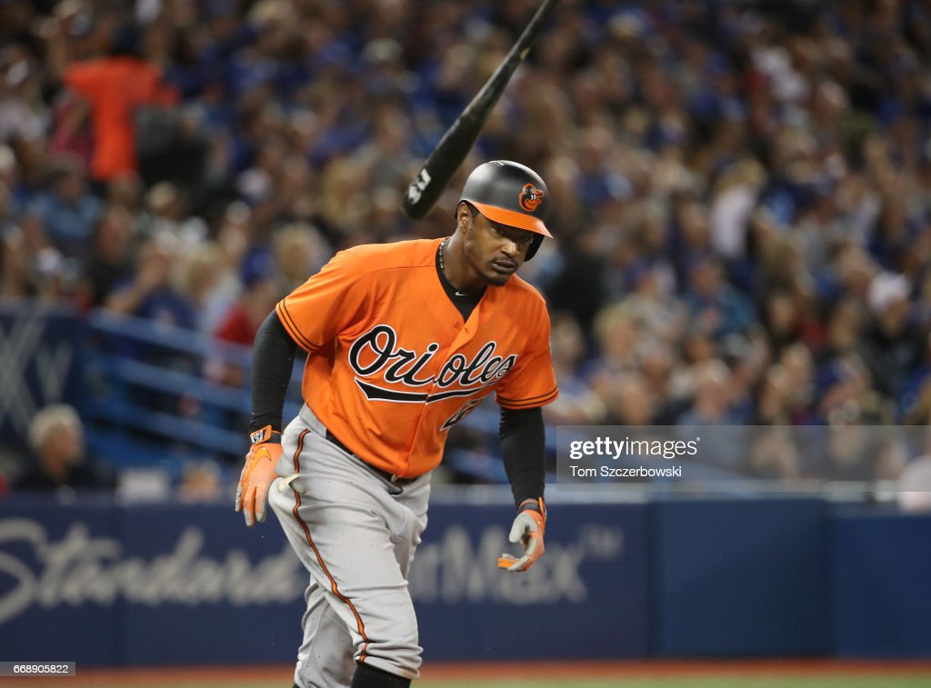 Adam Jones #10 of the Baltimore Orioles reacts as he pops out to end the seventh inning during MLB game action against the Toronto Blue Jays at Rogers Centre on April 15, 2017 in Toronto, Canada. All players are wearing #42 in honor of Jackie Robinson Day.
