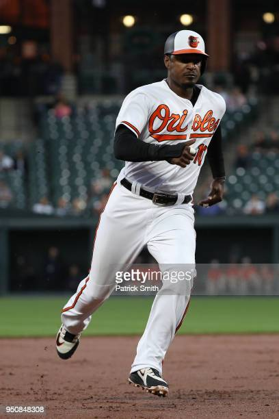 Adam Jones of the Baltimore Orioles runs against the Cleveland Indians at Oriole Park at Camden Yards on April 23 2018 in Baltimore Maryland