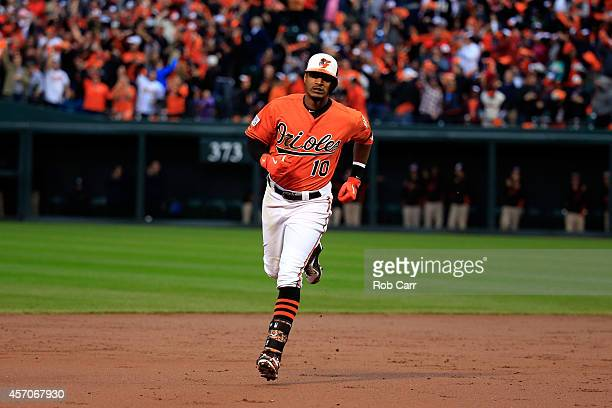 Adam Jones of the Baltimore Orioles runs the bases after hitting a two run home run to left field against Yordano Ventura of the Kansas City Royals...
