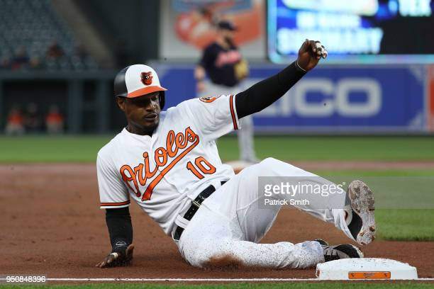 Adam Jones of the Baltimore Orioles slides against the Cleveland Indians at Oriole Park at Camden Yards on April 23 2018 in Baltimore Maryland