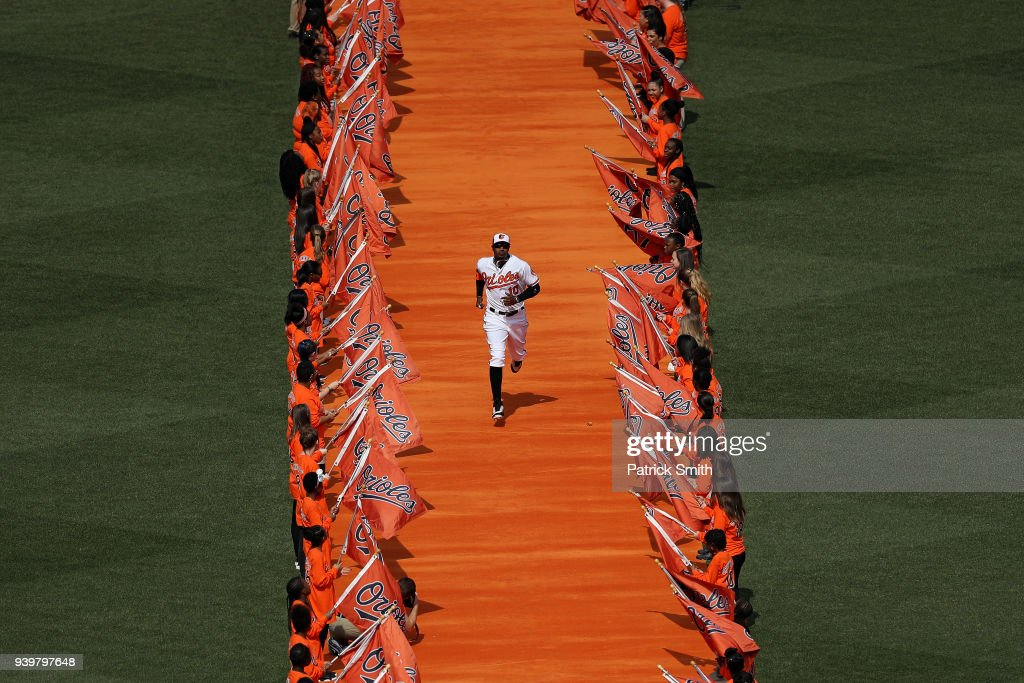 Adam Jones #10 of the Baltimore Orioles takes the field before playing against the Minnesota Twins in their Opening Day game at Oriole Park at Camden Yards on March 29, 2018 in Baltimore, Maryland.