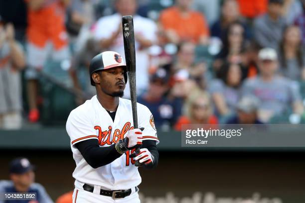 Adam Jones of the Baltimore Orioles waits to bat against the Houston Astros in the seventh inning at Oriole Park at Camden Yards on September 30 2018...