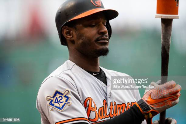 Adam Jones of the Baltimore Orioles wears the number 42 in recognition of Jackie Robinson Day before a game against the Boston Red Sox on April 15...