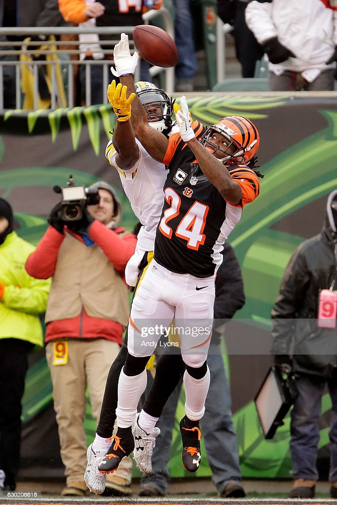 Adam Jones #24 of the Cincinnati Bengals breaks up a pass intended for Sammie Coates #14 of the Pittsburgh Steelers during the second quarter at Paul Brown Stadium on December 18, 2016 in Cincinnati, Ohio.