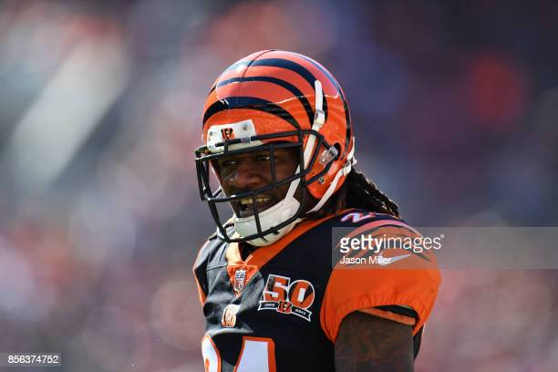 Adam Jones of the Cincinnati Bengals reacts to a play in the second half against the Cleveland Browns at FirstEnergy Stadium on October 1 2017 in...