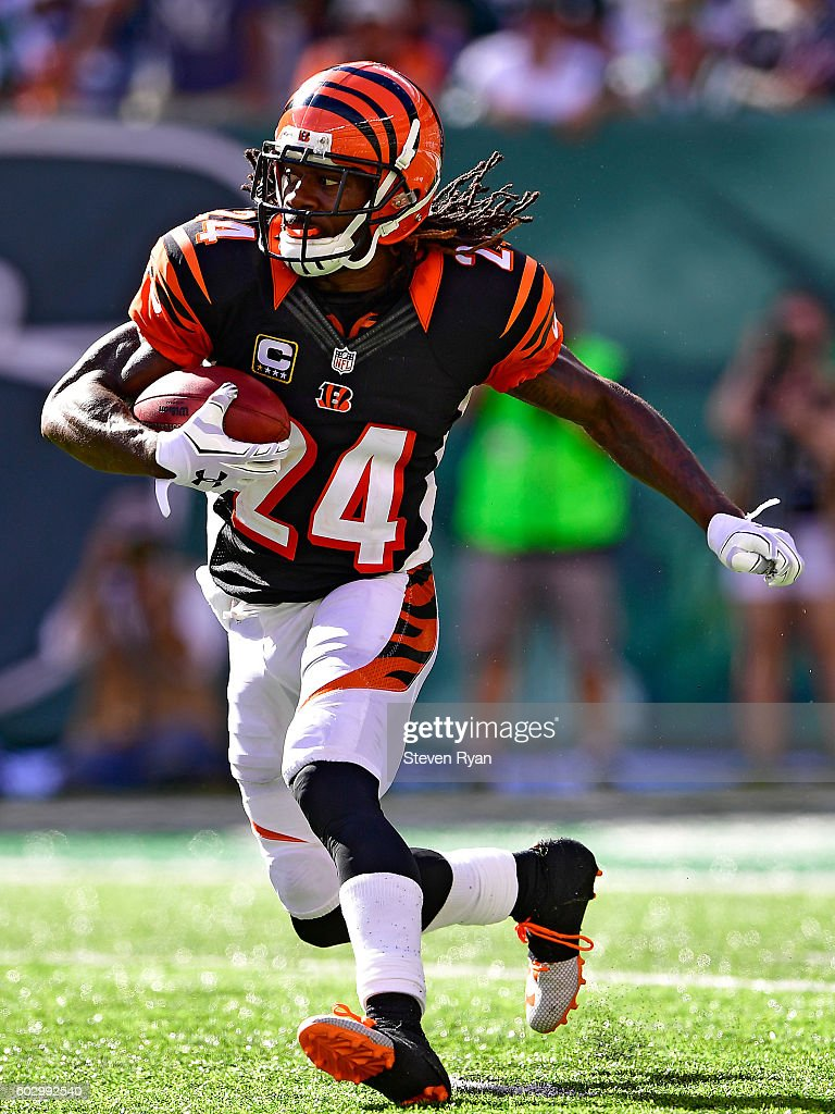 Adam Jones #24 of the Cincinnati Bengals returns the kickoff against the New York Jets during the fourth quarter at MetLife Stadium on September 11, 2016 in East Rutherford, New Jersey. The Cincinnati Bengals defeated the New York Jets 23-22.