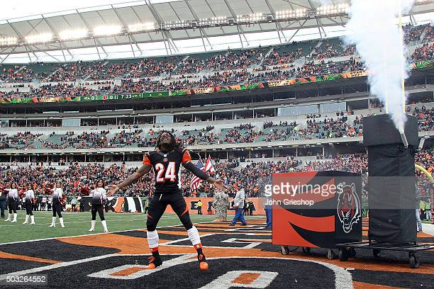 Adam Jones of the Cincinnati Bengals runs on to the field during player introductions prior to the start of the game against the Baltimore Ravens at...