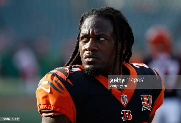 Adam Jones of the Cincinnati Bengals watches the action before the preseason game against the Kansas City Chiefs at Paul Brown Stadium on August 19...