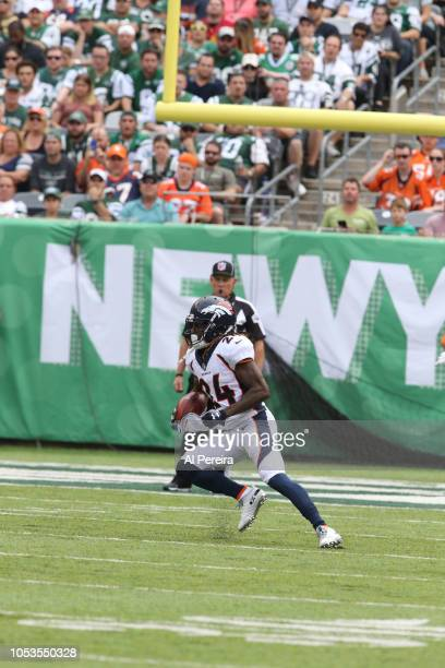 Adam Jones of the Denver Broncos in action against the New York Jets on October 7 2018 at MetLife Stadium in East Rutherford NJ