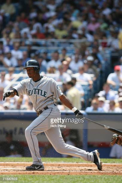 Adam Jones of the Seattle Mariners batting during the game against the New York Yankees at Yankee Stadium in the Bronx New York on July 19 2006 The...