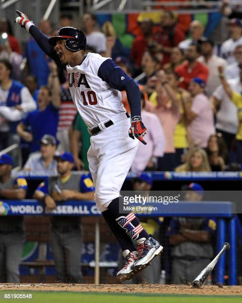 Adam Jones of the United States celebrates a walk off RBI single in the 10th inning during a Pool C game of the 2017 World Baseball Classic against...