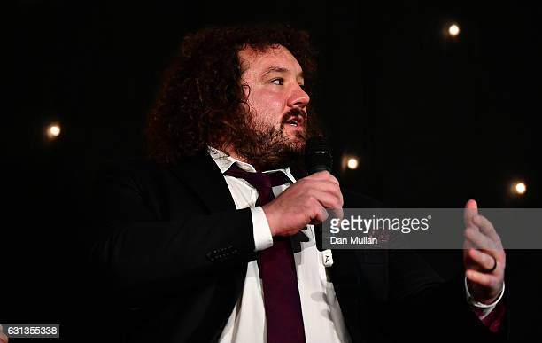 Adam Jones of Wales and Harlequins speaks during the Rugby Union Writers' Club Annual Dinner Awards at the London Marriott Hotel Grosvenor Square on...