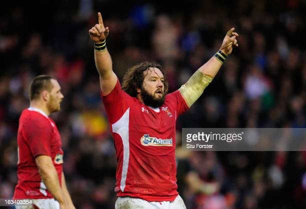 Adam Jones of Wales celebrates at the end of the RBS Six Nations match between Scotland and Wales at Murrayfield Stadium on March 9 2013 in Edinburgh...