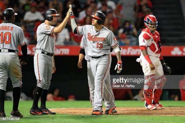 Adam Jones Seth Smith Welington Castillo congratulate Manny Machado of the Baltimore Orioles after he hit a grand slam as Martin Maldonado of the Los...
