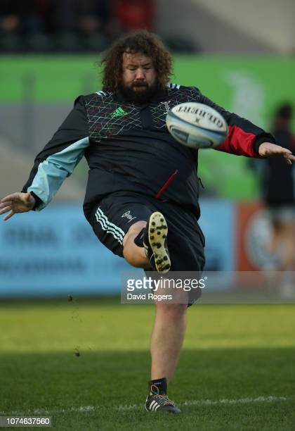 Adam Jones the Harlequins scrum coach kicks the ball prior to the Gallagher Premiership Rugby match between Leicester Tigers and Harlequins at...