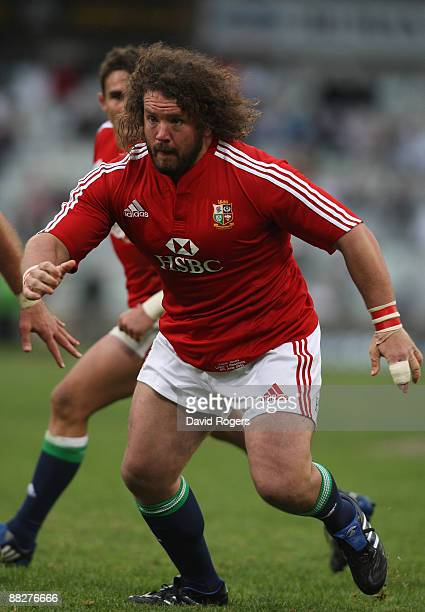 Adam Jones, the Lions prop, looks on during the match between the Cheetahs and the British and Irish Lions on their 2009 tour of South Africa at...