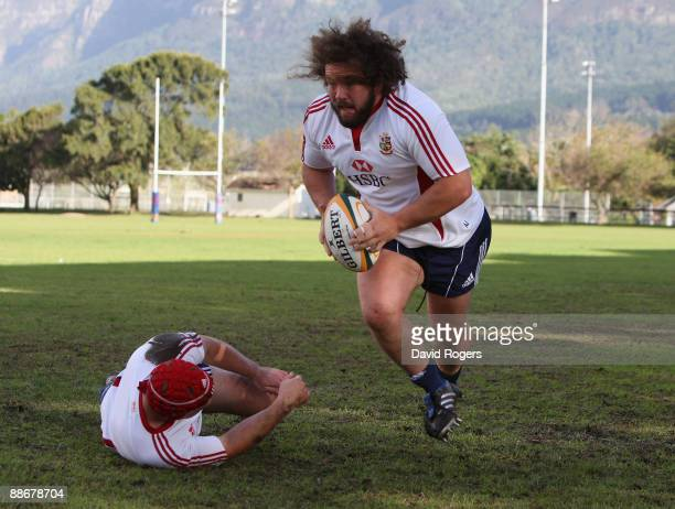 Adam Jones, the Lions prop, runs with the ball during the British and Irish Lions training session at Bishops School on June 25, 2009 in Cape Town,...