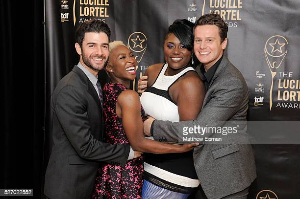 Adam Kantor Cynthia Erivo Danielle Brooks and Jonathan Groff attend the press room for the 31st Annual Lucille Lortel Awards at NYU Skirball Center...