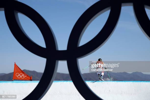 Adam Kappacher of Austria trains ahead of the Freestyle Skiing Men's Ski Cross Seeding on day 12 of the PyeongChang 2018 Winter Olympic Games at...