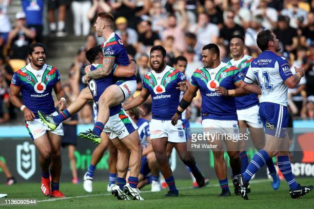 Adam Keighran of the Warriors celebrates scoring a try during the round 1 NRL match between the New Zealand Warriors and the Canterbury Bulldogs at...