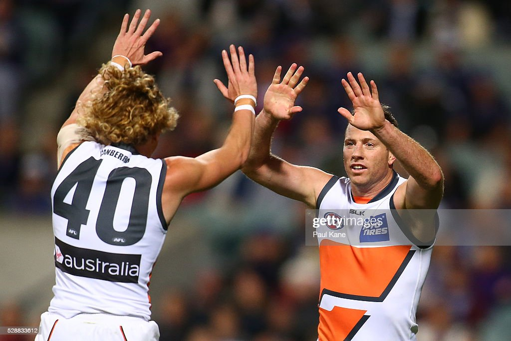 Adam Kennedy and Steve Johnson of the Giants celebrate a goal during the round seven AFL match between the Fremantle Dockers and the Greater Western Sydney Giants at Domain Stadium on May 7, 2016 in Perth, Australia.
