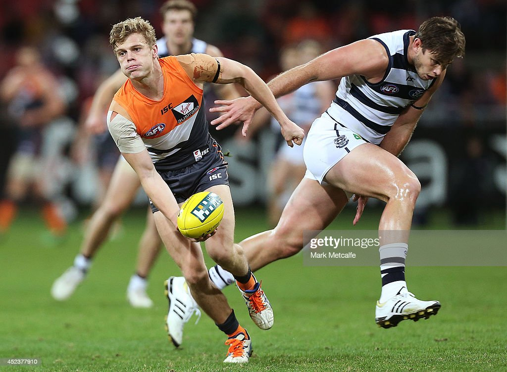 Adam Kennedy of the Giants in action during the round 18 AFL match between the Greater Western Sydney Giants and the Geelong Cats at Spotless Stadium on July 19, 2014 in Sydney, Australia.