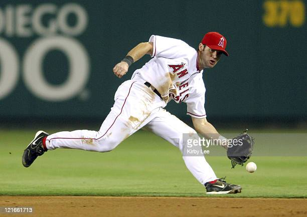 Adam Kennedy of the Los Angeles Angels of Anaheim fields a grounder during during 111 victory over the Washington Nationals at Angel Stadium in...